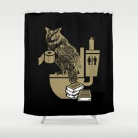 bathroom Shower Curtains featuring Bathroom Owl by October's Very Own