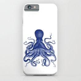 Octopus Print Navy Bluer by Zouzounio Art iPhone Case