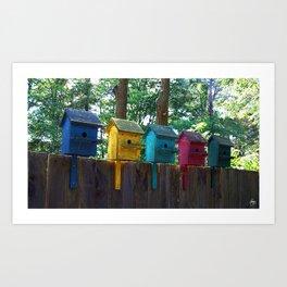Bird Houses on a Fence Art Print
