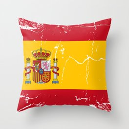Spain flag with grunge effect Throw Pillow