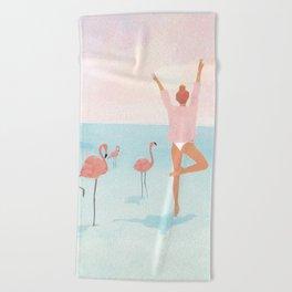 Big Flamingo Beach Towel
