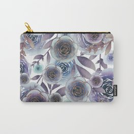 Watercolor Roses Golden Purple Blues Carry-All Pouch