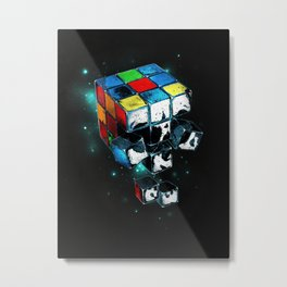 Rubicks Skull Metal Print