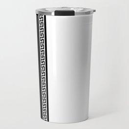 Greek Key 2 - White and Black Travel Mug