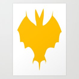 Orange-Yellow Silhouette Of a Bat  Art Print
