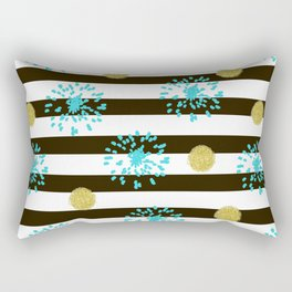 A festive mood. Striped background black and white with blue fireworks and Golden peas . Rectangular Pillow