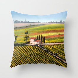 Vineyards In Tuscany Italy Throw Pillow