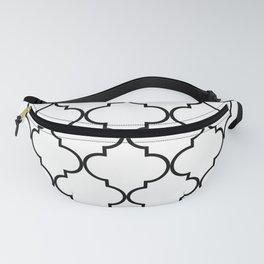 Quatrefoil - black on white Fanny Pack