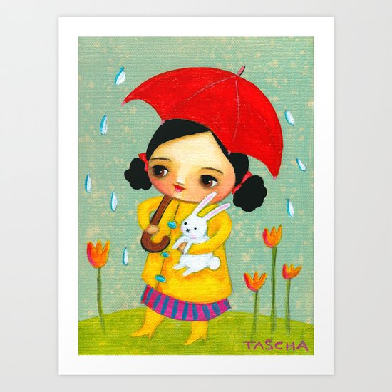 Rainy Day Bunny by tascha Art Print