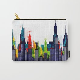 American City Buildings And Skyscrapers in Watercolor Carry-All Pouch