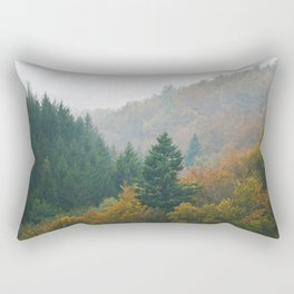 Foggy autumn forest layers disappearing in fog Rectangular Pillow