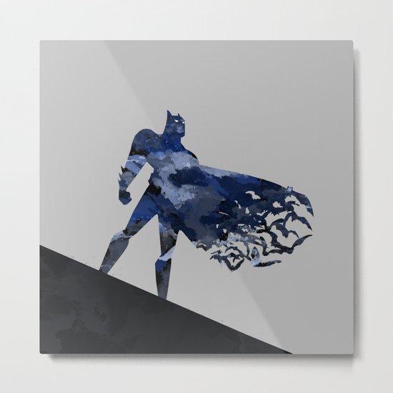 Bat man  Dark blue hero Knight comic digital brush Metal Print