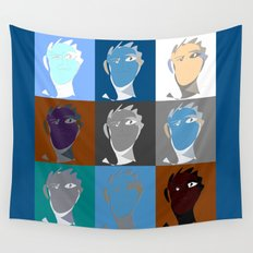 blind contour self portrait Wall Tapestry