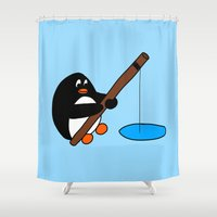 fishing Shower Curtains featuring Fishing by Kakida Lily