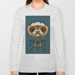 orange and brown skull and bone graffiti drawing with green background Long Sleeve T-shirt
