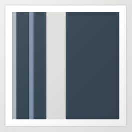A mild package of Dark Grey Blue, Christmas Silver, Philippine Silver and Gray-Blue vertical stripes. Art Print