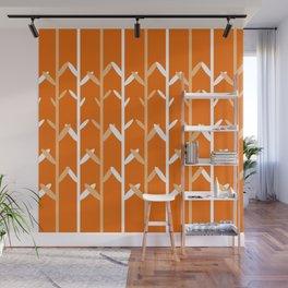 Oat Field Leafy Orange Pattern Wall Mural