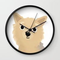 yorkie Wall Clocks featuring Yorkie - Cute Dog Series by Cassandra Berger