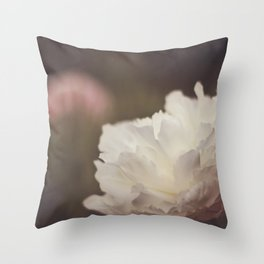 White and Pink Peonies Throw Pillow