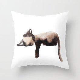 Sleepy Kitten in Watercolor - Brown Cat Sleeping Throw Pillow