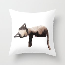 Sleepy Kitten in Watercolor - Brown Cat Sleeping Throw Pillow