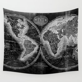 Black and White World Map (1795) Inverse 2 Wall Tapestry