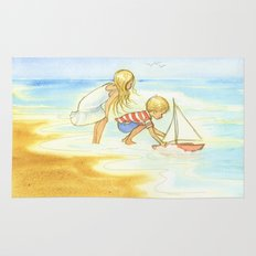 Children playing at the beach - Artwork that re-visits your favorite childhood memories Rug