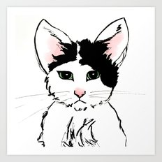 Sadface Cat Sketch Art Print
