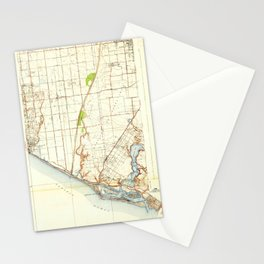 Newport Beach, CA from 1935 Vintage Map - High Quality Stationery Cards