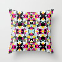 comic book Throw Pillows featuring Comic Book Tribal by Beth Thompson