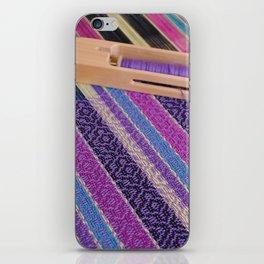 Striped point twill, purple iPhone Skin