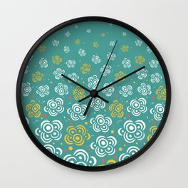 Raining Flowers - Turquoise Wall Clock