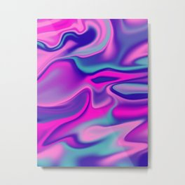 Liquid Bold Vibrant Colorful Abstract Paint in Blue, Pink and Purple Metal Print
