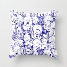just alpacas blue white Throw Pillow