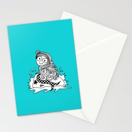 a cute little mermaid on a rock Stationery Cards