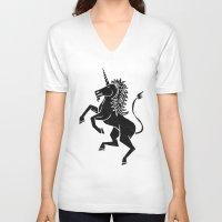 unicorn V-neck T-shirts featuring UNICORN by Matthew Taylor Wilson
