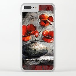 Poppies style gray red Clear iPhone Case