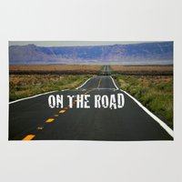 kerouac Area & Throw Rugs featuring ON THE ROAD by muffa