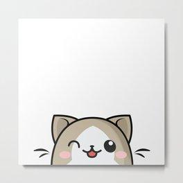 Winking Kawaii Kitty Cat Illustration Metal Print