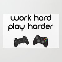 die hard Area & Throw Rugs featuring Work hard play harder by eARTh