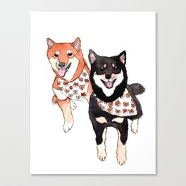 Two Shiba Inu with Bandana Canvas Print