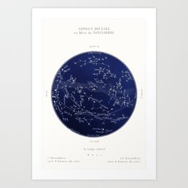 French November Star Map in Deep Navy & Black, Astronomy, Constellation, Celestial Art Print