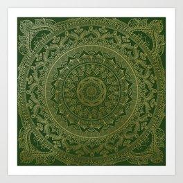 Mandala Royal - Green and Gold Art Print