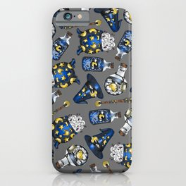 Midnight Witchcraft - Magical Pattern on Gray iPhone Case