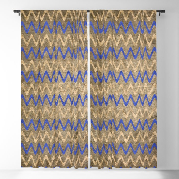 Blue and Tan Zigzag Stripes on Grungy Brown Burlap Graphic Design Blackout Curtain