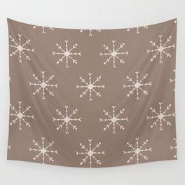 Christmas Pastel Brown Pink Geometric Snowflakes Wall Tapestry