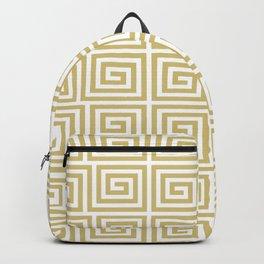 Hollywood Regency Greek Key Pattern Gold and White Backpack