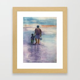 Papa and Me at the Beach Framed Art Print