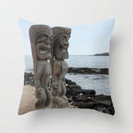 Hawaiian Tikis Throw Pillow