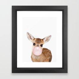 Bubble Gum Baby Deer Framed Art Print